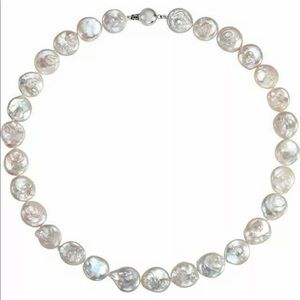 White Coin Pearl Strand Necklace 18 Inch